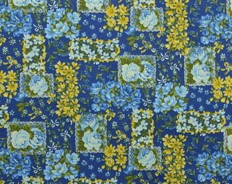 Cotton Quilting Fabric, Cotton Fabric, Patchwork Fabric, Cotton Floral Fabric by the Yard, Blue Yellow Fabric - 1 Yard - CFL2095