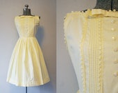 1950's Yellow Bow Dress / Size Small