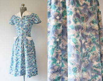 1950's Blue and Purple House Dress with Pockets / Size Medium