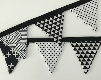 the mini bobbi -  monochrome black and white fabric banner bunting