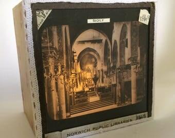 Magic lantern Slide Light Box/ Palatine Chapel, Palermo, Sicily Photo Ornament/ decoration