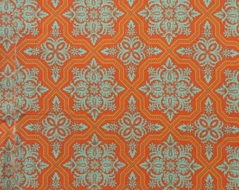 Cotton Fabric / Orange Cotton Fabric / Westminster Fabrics / Tile Flourish / Heirloom / Joel Dewberry / Cotton Quilting Fabric