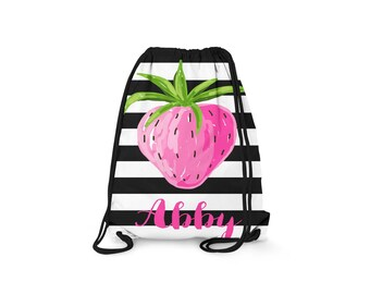 Personalized Drawstring Backpack - Black and White Striped Strawberry - Personalized Kids Drawstring Bag