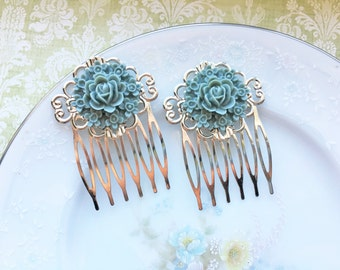 Vintage Inspired Dusty Blue Flower Bouquet Hair Comb Set, Rose Hair Comb, Silver Hair Accessory, Victorian
