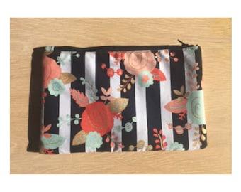 Cosmetic Bag, Pencil Bag, Floral Print Bag, Cotton Bag, Small Purse