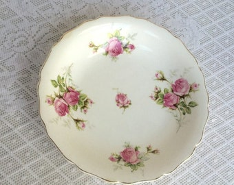 Christmas Sale Vintage White Ceramic Vegetable Bowl / Canonsburg Moss Rose Serving Dish