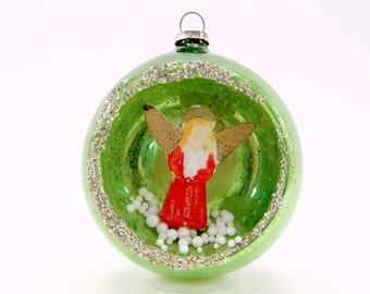 1950s Vintage Mercury Glass Angel Diorama Christmas Ornament Green Christmas Decoration Holiday Bauble