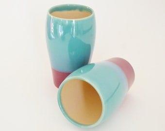 IN STOCK, Pottery Tumbler, Ceramic Pint Glass, Stoneware Beer Stein, Ceramic Tumblers, Drinking Vessel, Green Burgundy Mug