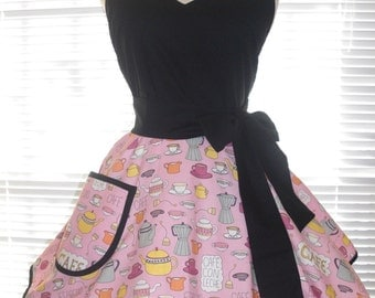 Retro Pinup Style Apron  Coffee and Tea Themed Apron on a Pink Background Flirty Circular Skirt