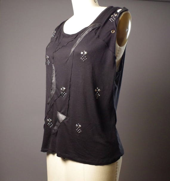 SUMMER SALE - Black Leather Tank Top - Black T-shirt -Tooled Black Tank Top - Black rocker tank - Black Tank Tops - Dark Fashion
