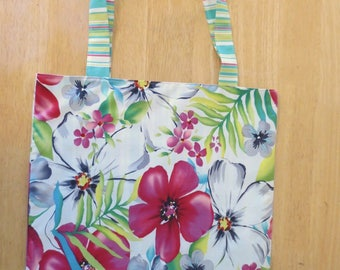 Cotton Grocery Tote, Tropical Floral