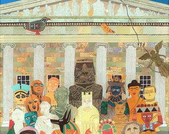 The British Museum, Greeting Card, Illustration, Antiquities, Collage, Naive Art, London, Museum, Quirky, Recycled, Amanda White Design