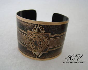 Cuff bracelet etched  with historical drawing