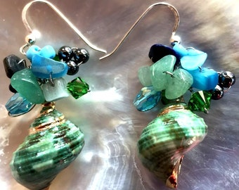 Green Turbo Shell Wire-Wrapped Earrings