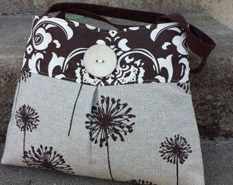 Handbag Purse Shoulder Tote in Chocolate Brown Floral Dandelion Print
