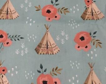 Teepee fabric , 1 yard , cute girl fabric