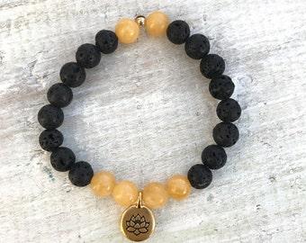 SALE: Calcite Gem Lava Aromatherapy Bracelet - 3rd Chakra - Positivity. Cleansing. Energizing. - ZEN by Karen Moore Jewelry