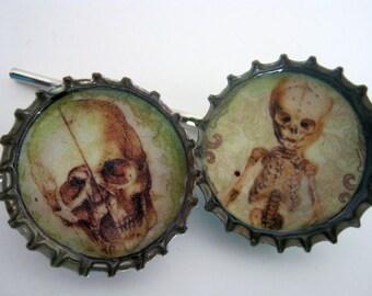 Skulls 2 Bottle Cap Hair Pins