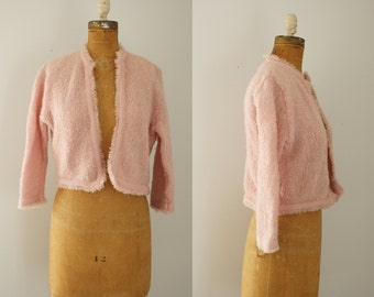 1950s sweater | vintage 50s pink cardigan