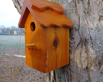 Birdhouse/Nesting Box 2, Outdoor Plain Wood. Handmade, good quality, fully functional - Western Red Cedar. Made in USA