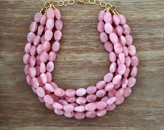 Statement Necklace Bridesmaid Jewelry JACKIE O PETAL PINK Necklace Wedding Jewelry Statement Jewlery Pink Necklace