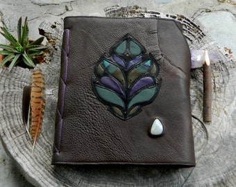 Leafy Leather Journal Brown Recycled Leather Diary Blank Page Notebook Pixie Book by Ariom Designs