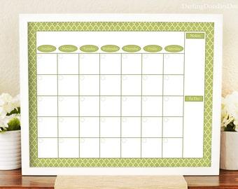 Family Calendar - Monthly Calendar - Printable Wall Calendar - Sage Green Calendar - Dry Erase Calendar Board - Housewarming Gift - 16x20 -