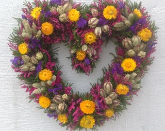 Pink,  Purple and Yellow Heart Dried Flower Wreath