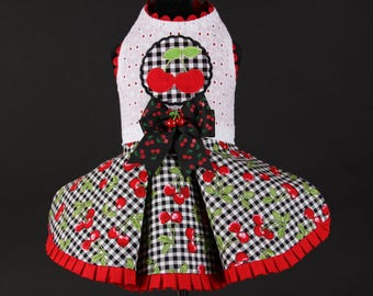 SAMPLE SALE:   Cherry Gingham Dog Dress