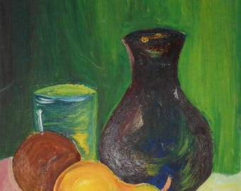 vintage oil painting of pear vase glass signed