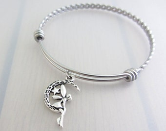 Fairy On The Crescent Moon Charm Stainless Steel Bangle, Silver Fairy Charm Bracelet, Adjustable Twist Bangle, Fantasy Stackable Bracelet