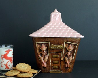Vintage Pixie Elf Cookie Jar School House Pink Kitschy 1960s Decor California Pottery Canister