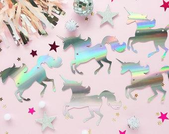 Iridescent Unicorn Garland/ Holographic Banner/ Unicorn Banner/ Unicorn Party/ Unicorn Birthday/ Kids Room Decor/ Unicorn Baby Shower