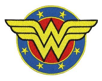 Wonder Woman Shield Emblem Iron-On Patch Superhero Fan Costume Craft Applique