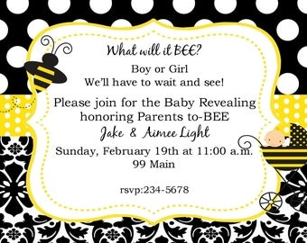 Bee Bumblebee  Gender Reveal Revealment invitations with envelopes -little honey-ANY COLORS