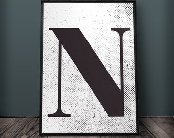 Letter N Poster, Letter Wall Art, Letter Wall Decor, Printable Letters, Large Letter Print, Typography Poster