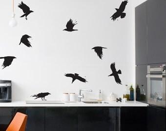 Black Crows Wall Decal - Nature Wall Decal, Crow Art, Flying Bird Art, Halloween Decor, Halloween, Bird Wall Sticker, Flock Of Birds