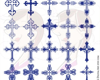 Cross Clip Art Navy Blue Decorative Crosses Christian Clipart Orthodox Gothic Digital Graphics Christmas Easter Sympathy Cardmaking 10340