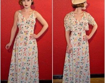 1930s Cotton Floral Dress Abstract Print with Bolero XS