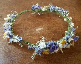 wedding hair accessories, bridal head crown, bridal hair flower, dried flower crown, hair crown, wild flower, dried headpiece, dried crown