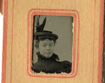 Antique Gem Tintype Photo of Victorian Lady With Fabulous Hat - Paper Frame - 1890s - Gemtype - Vintage Supplies