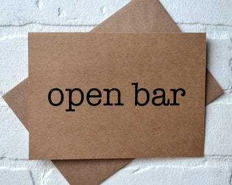Open Bar bridesmaid card funny card WILL you be my bridesmaid open bar card will you be my bridesmaid funny bridal proposal cards bridesmaid