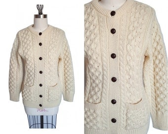 ARAN Irish Cable Knit Wool Cardigan • Vintage Ivory Button up Sweater • Size S - M Medium