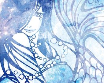 "Postcard ""Pearl Mermaid"" - beauty - fish - kimono girl"