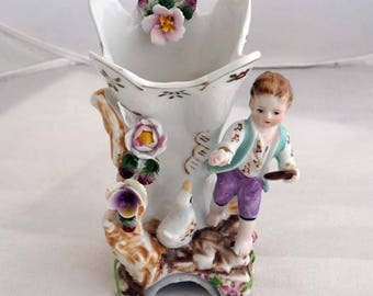 Vintage Porcelain Young Man feeding a Duck Vase footed High Relief