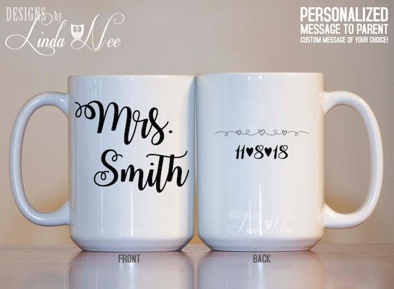 Customized Wedding Gift Mugs : CUSTOM Mrs. Mug, Wedding Mug, Bridal Shower Gift, Bride Mug ...