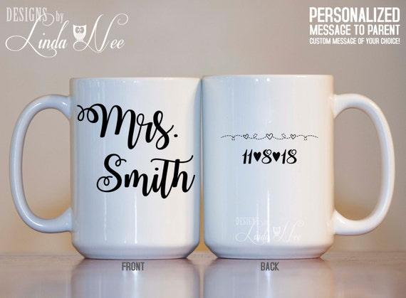 CUSTOM Mrs. Mug, Wedding Mug, Bridal Shower Gift, Bride Mug ...
