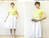 SPRING SALE BENETTON Lime yellow cotton jersey fitted short sleeve crop belly sweater top S