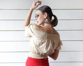Vintage nude beige off shoulder blouse bohemian style crop belly balloon summer top XS S
