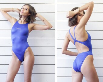 SPEEDO electric blue racer low open back fitted sport pool one piece swimsuit 34''